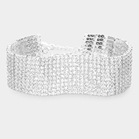 10 Row Crystal Rhinestone Embellished Tennis Evening Bracelet