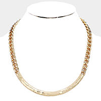 Hammered Metal Chain Collar Necklace