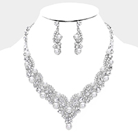 Pearl Accented Crystal Rhinestone Evening Necklace