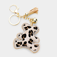 Leopard Pattern Rhinestone Trim Tassel Bear Key Chain