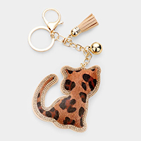 Leopard Pattern Rhinestone Trim Tassel Cat Key Chain