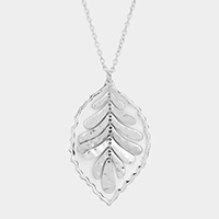 Hammered Metal Leaf Metal Pendant Long Necklace