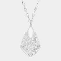 Floral Filigree Metal Pendant Long Necklace