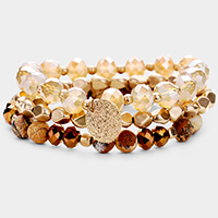 3PCS - Semi Precious Faceted Bead Stretch Layered Bracelets