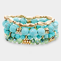 4PCS - Semi Precious Faceted Bead Stretch Layered Bracelets