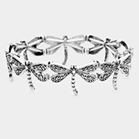 Burnished Metal Dragonfly Stretch Bracelet