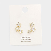 Gold Dipped Cubic Zirconia Pave Triple Star Earrings