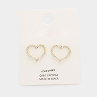 Gold Dipped Cubic Zirconia Heart Earrings