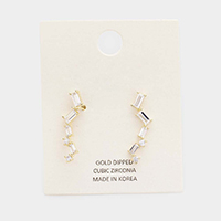 Gold Dipped Baguette Cubic Zirconia Drop Earrings