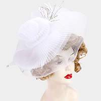 Embellished Floral Feather Rhinestone Mesh Fascinator