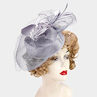 Embellished Rosette Feather Mesh Fascinator
