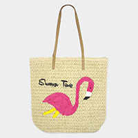 Flamingo Straw Summer Tote Bag