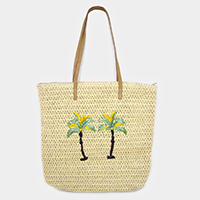 Palm Tree Straw Summer Tote Bag