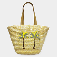 Palm Tree Summer Straw Basket Tote Bag