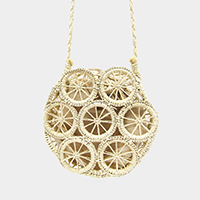 Wheel Accents Straw Cross Bag