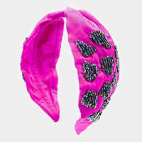 Beaded Fuchsia Knotted Headband