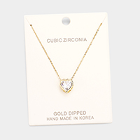 Gold Dipped CZ Heart Pendant Necklace