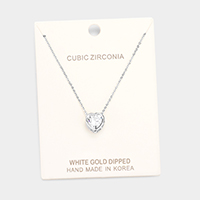 White Gold Dipped CZ Heart Pendant Necklace