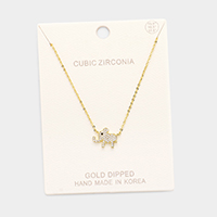 Gold Dipped Cubic Zirconia Elephant Pendant Necklace