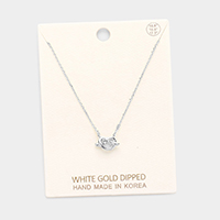 White Gold Dipped Knotted Heart Pendant Necklace