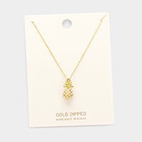 Gold Dipped Pearl Pineapple Pendant Necklace