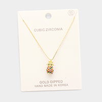 Gold Dipped CZ Pineapple Pendant Necklace