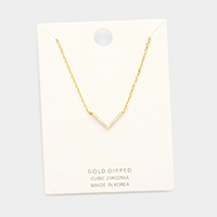 Gold Dipped Cubic Zirconia V Pendant Necklace