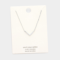 White Gold Dipped Cubic Zirconia V Pendant Necklace