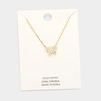 Gold Dipped Cubic Zirconia Butterfly Pendant Necklace