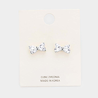 CZ Cubic Zirconia Bow Stud Earrings