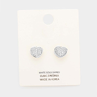 White Gold Dipped Cubic Zirconia Heart Stud Earrings