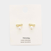 Gold Dipped CZ Cubic Zirconia Pearl Stud Earrings