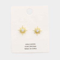 Gold Dipped Cubic Zirconia Sun Stud Earrings