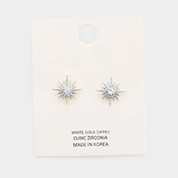 White Gold Dipped Cubic Zirconia Sun Stud Earrings