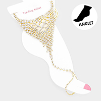 Crystal Rhinestone Evening Net Toe Ring Anklet