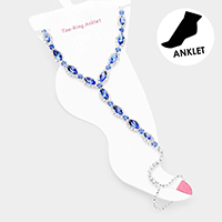 Marquise Crystal Rhinestone Trim Net Toe Ring Evening Anklet