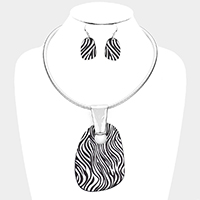 Zebra Pattern Decor Metal Bib Necklace
