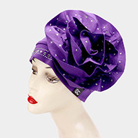 Oversized Floral Decor Crystal Beaded Turban Hat