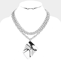 Crumpled Metal Pendant Chain Layered Collar Necklace