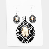 Embossed Two Tone Metal Magnetic Pendant Set