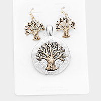 Antique Metal Two Tone Tree of Life Magnetic Pendant Set