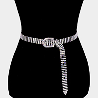 5 Row Buckle Accented Crystal Rhinestone Belt