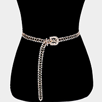 Rhinestone Buckle Chain Belt