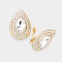 Pear Crystal Rhinestone Pave Clip on Evening Earrings