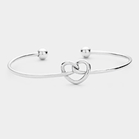 Knotted Heart Metal Cuff Bracelet
