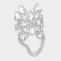 Marquise Floral Crystal Adjustable Evening Bracelet / Anklet