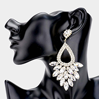 Marquise Crystal Cluster Rhinestone Evening Dangle Earrings