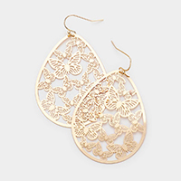 Brass Metal Butterfly Earrings