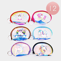 12PCS - Iridescent Unicorn Coin Purses Key Chains