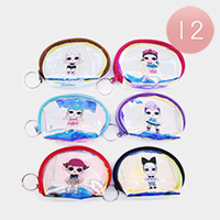 12PCS - Iridescent Cute Girl Coin Purses Key Chains